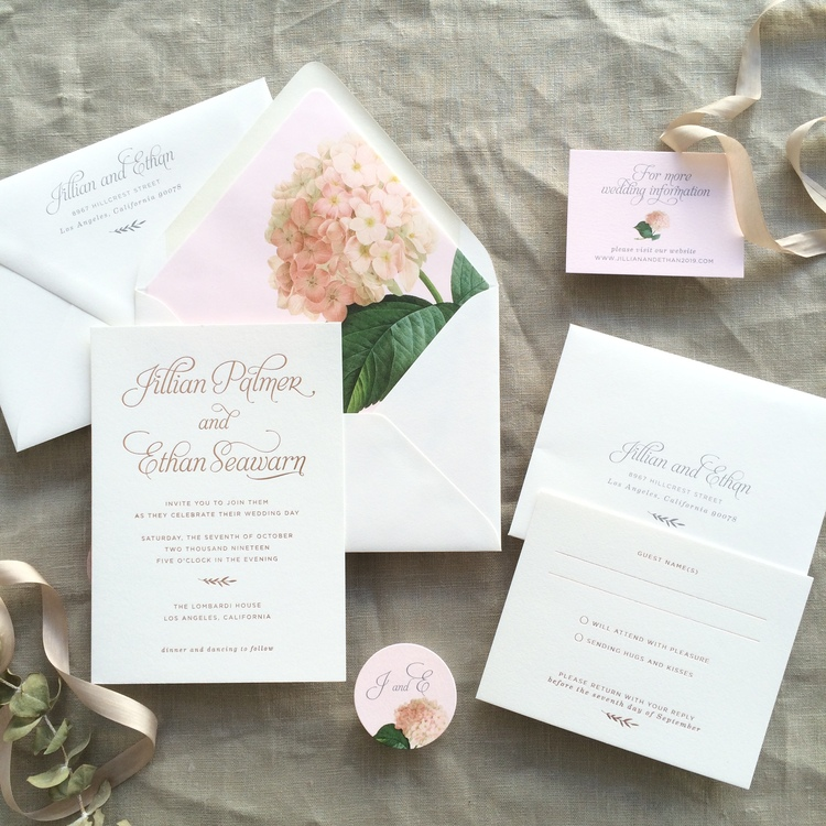 Jillian by BTE, pink hydrangea invitation with rose gold foil