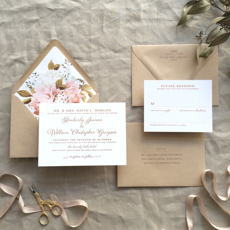 Kimberly by BTElements, Copper foil wedding invitation with kraft envelopes, vintage floral envelope liner, colors are reminiscent of late summer or fall