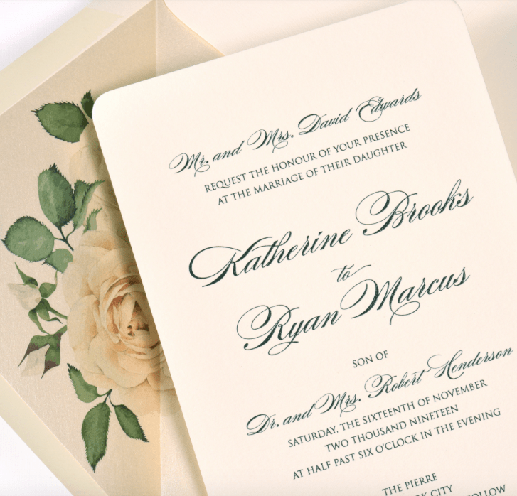 Katherine by Lemontree, wedding invitation with white rose envelope liner on ivory shimmer paper, formal script typesetting, black raised thermography ink, rounded corners on invitation