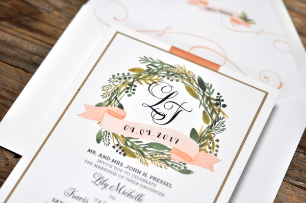 Lily by BTE, Blush invitation with lots of greenery, monogram and ribbon detail