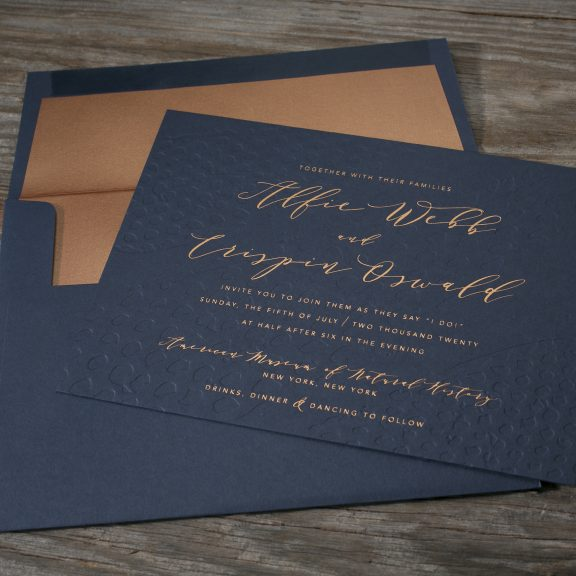 Bella Figura, Garnet, Navy invitation with Copper Shimmer Envelope Liner and Copper Foil