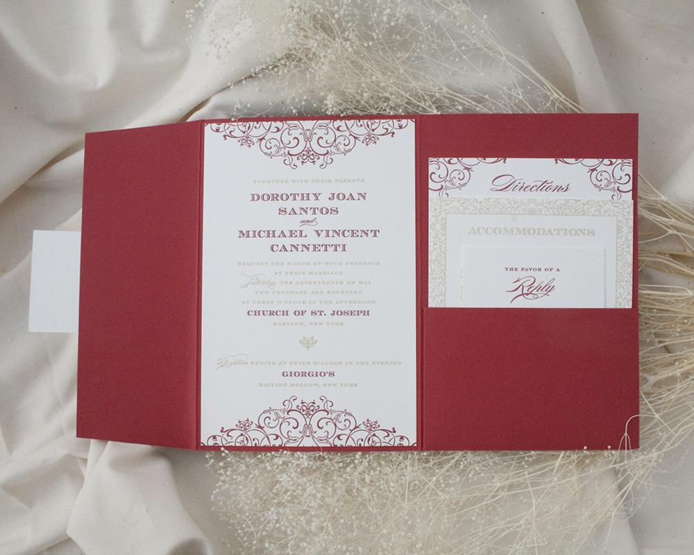 Dori + Michael, Wedding, Pocket Invitation, Red and Gold invitation with decorative pattern, letterpress printing
