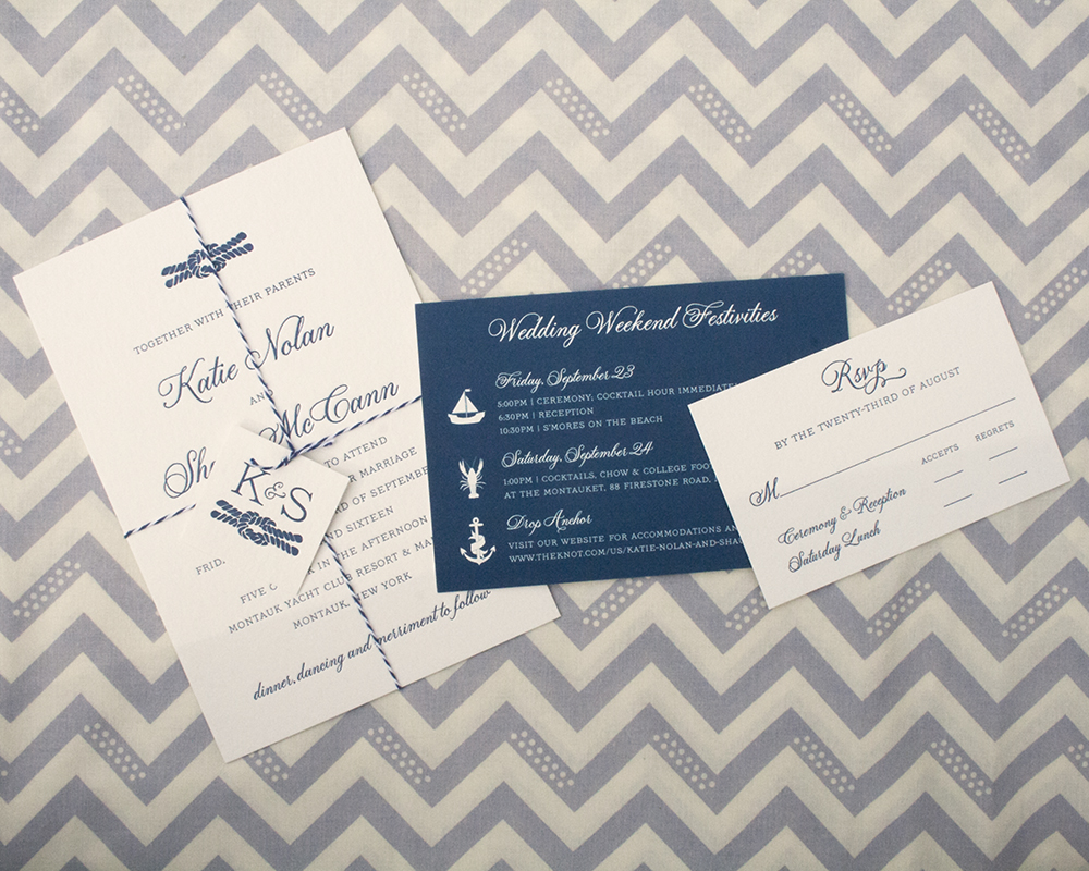 Katie + Shaun Invitation, Letterpress, Nautical, Twine + Tag