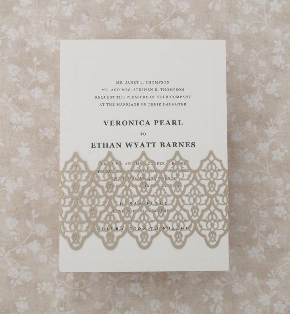 Lasercut BellyBand, Classic wedding invitation, decorative deco detailing, thermography wedding invitation