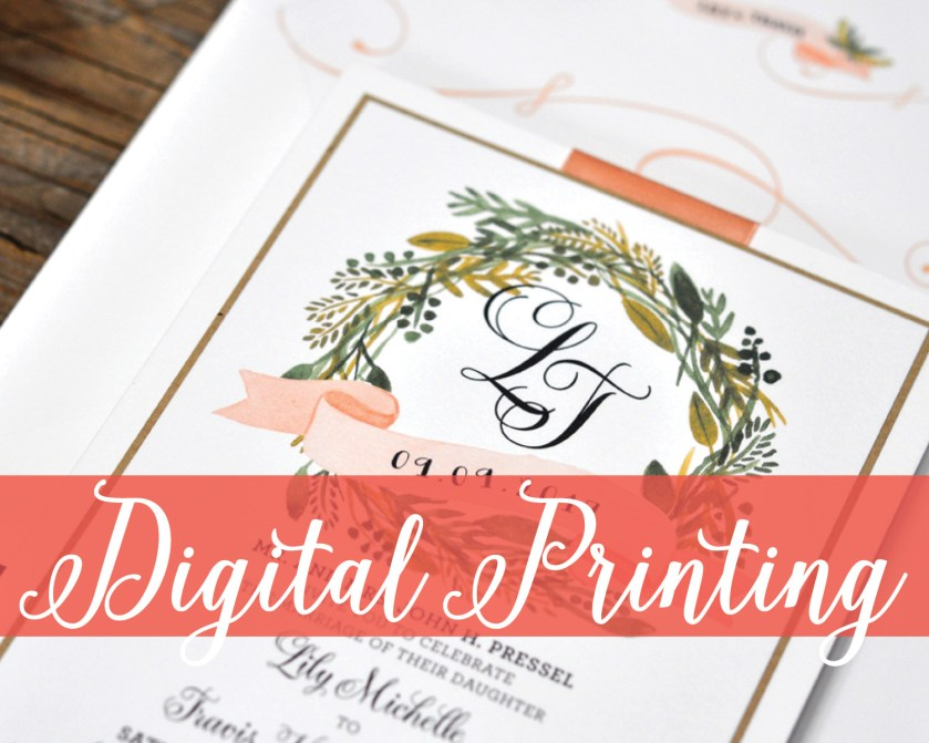 Digital Printing, Rustic Invitation with Wreath and Monogram, Flat Printing, Whimsical wedding