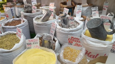 Pulses, beans and rice for sale not unlike our grain stores back home