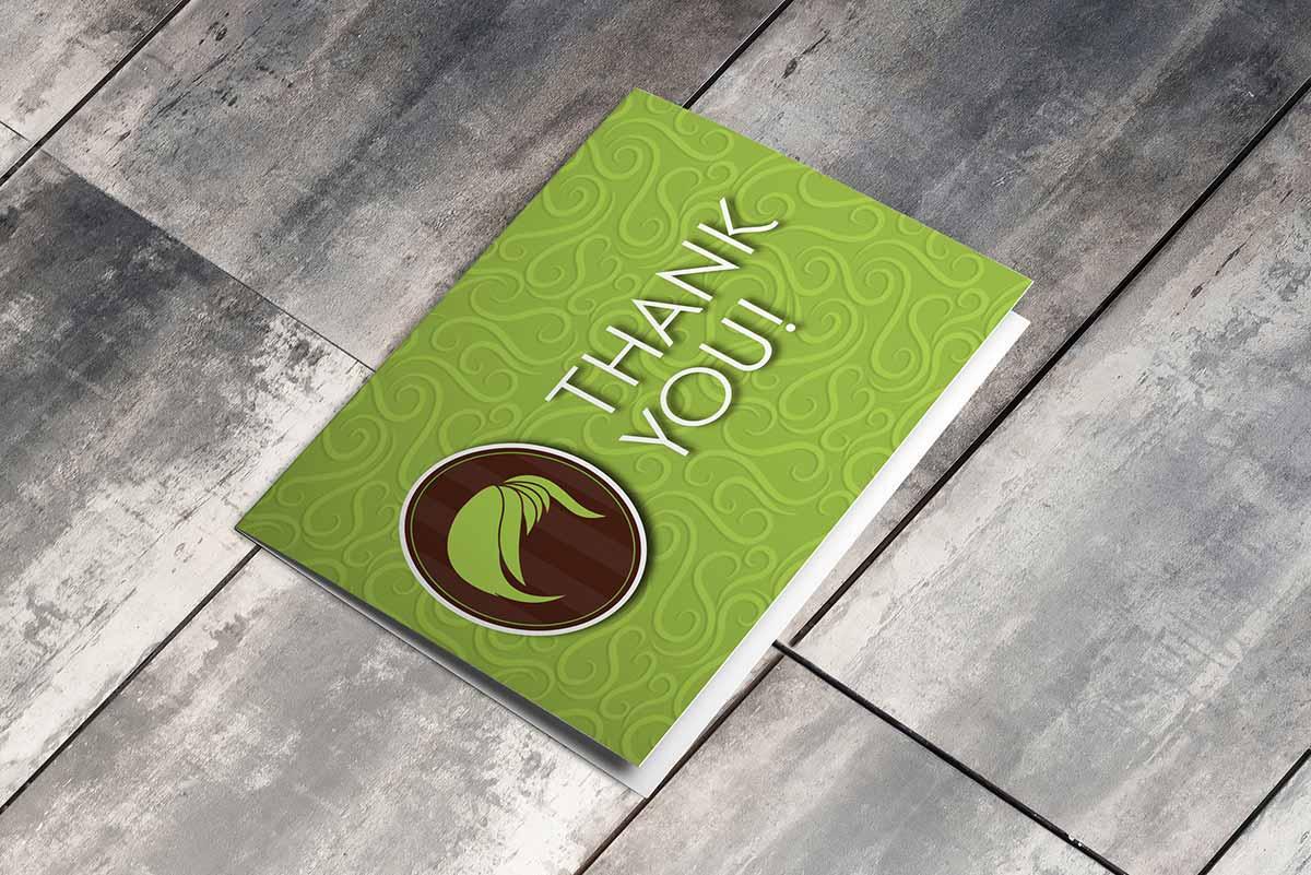 Salon Sass thank-you card mockup