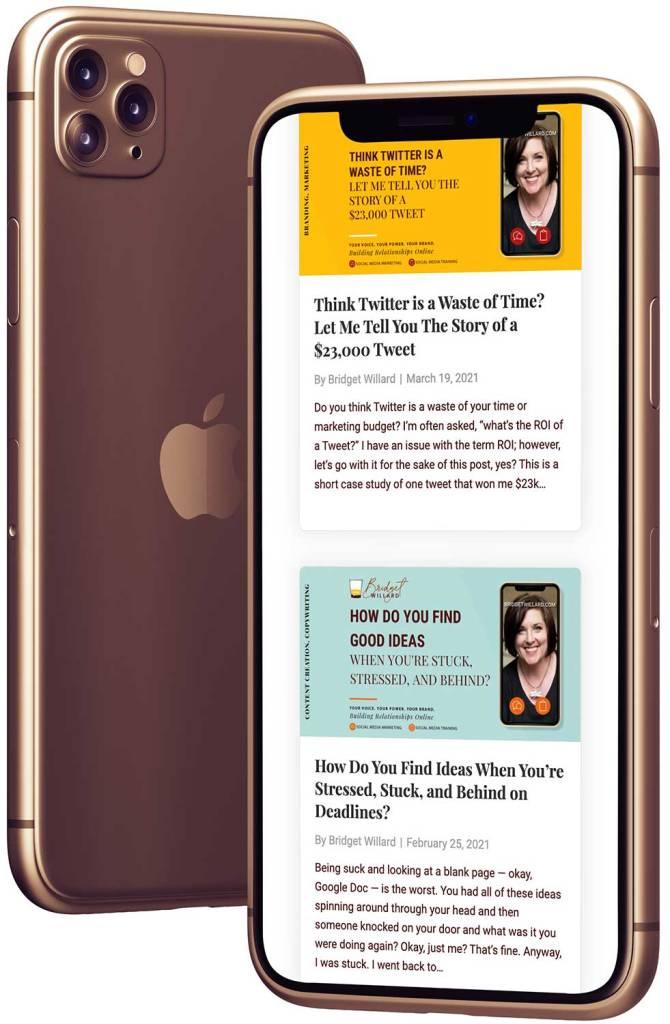 Responsive Website for Bridget Willard dot com on an iPhone