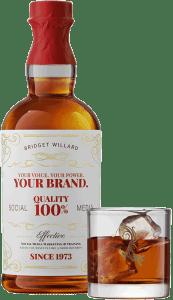 Bridget Willard, LLC whiskey bottle, label, and glass