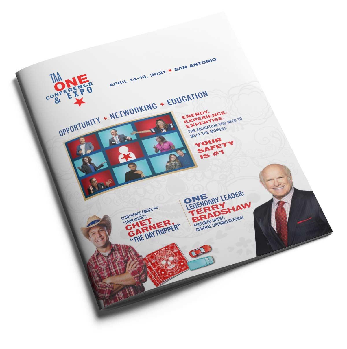 TX One, Texas Apartment Association's 2021 event program cover design