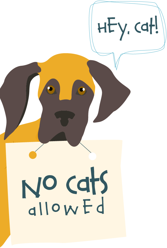 """Great Dane holding sign that reads, """"No cats allowed."""""""