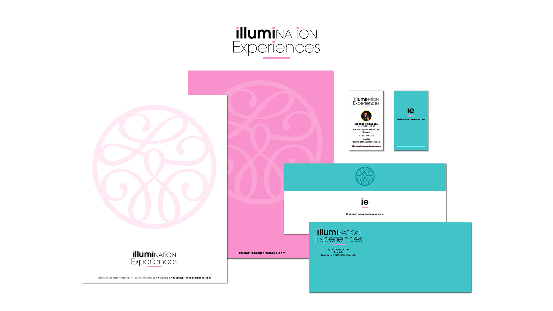 Illumination Experience's branded business documents, letterhead, business card, and envelope