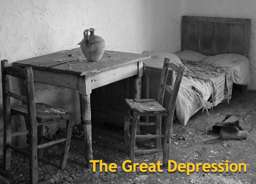 The stock market crash of 1929 is the first of many events that caused Depression.