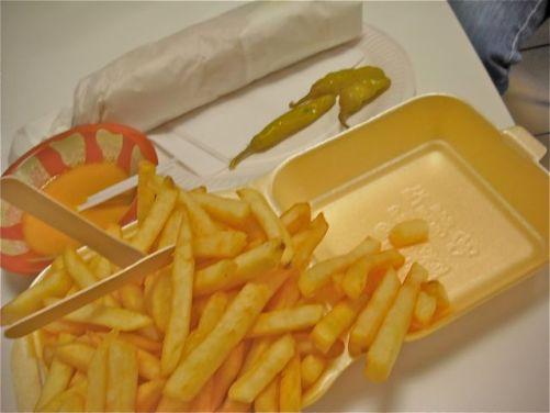 Falafel wrap, chips and tasty mango amba sauce