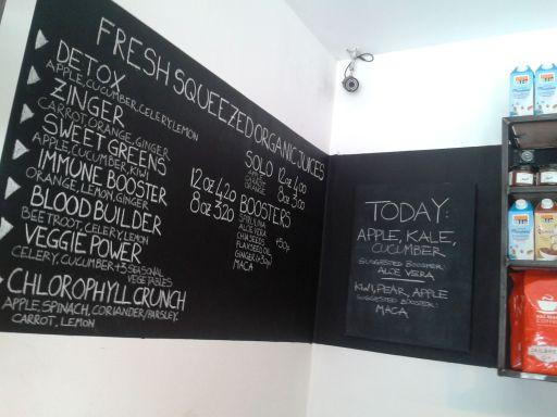Fresh juice menu
