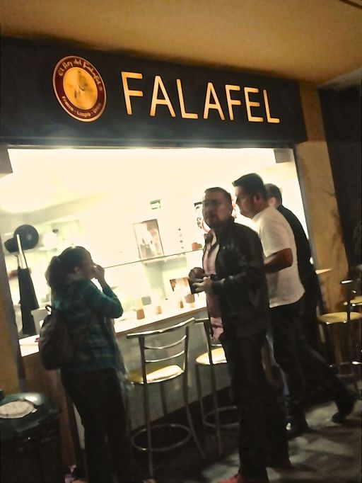 Lety, Carlos, Julio and Josh lined up for falafel
