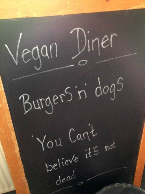 Astrid och Aporna vegan burger bar sign