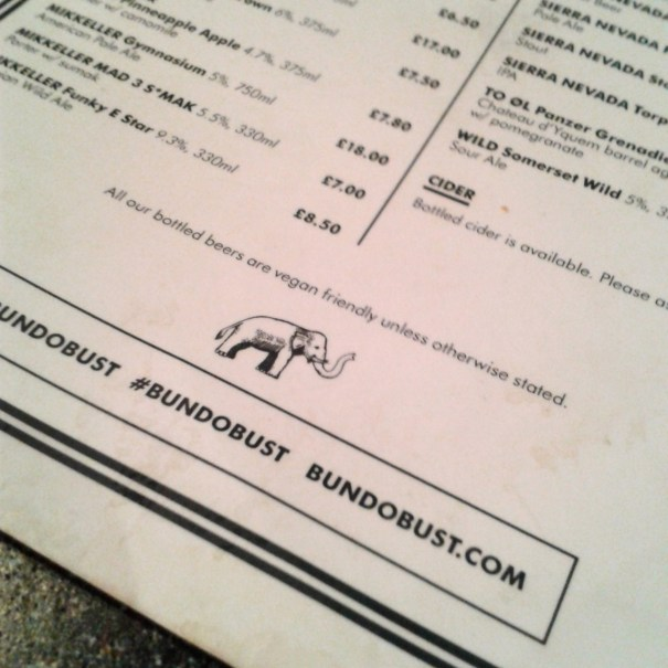 vegan beer menu