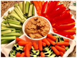 Fresh cut crudite with hummus