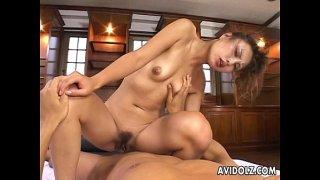 Gorgeous Japanese slut loves to ride on a thick boner