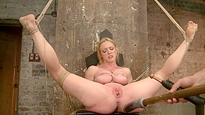Huge tied tits blonde pussy toyed