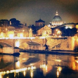 View of St. Peter's at night - Rome, Italy