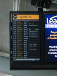 Our flight on the departure board