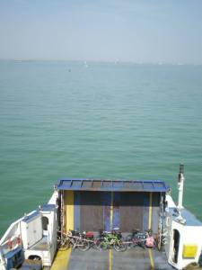 Looking down on our bikes on the Cowes to Portsmouth ferry