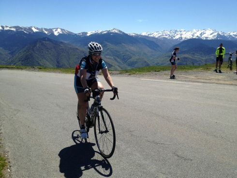 Reaching the summit of Col D'Aspin