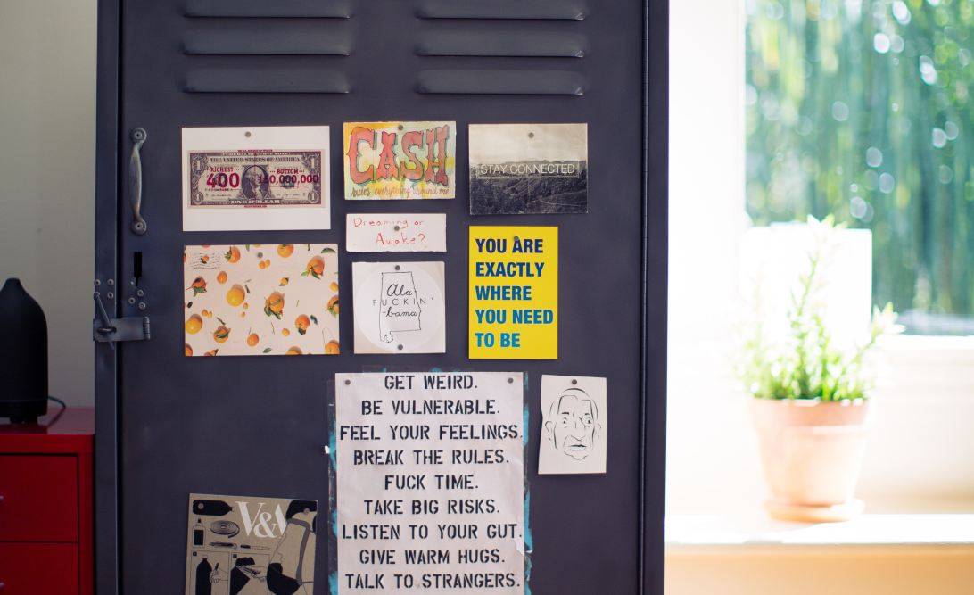 Motivation page or board - quotations pinned on a metal locker