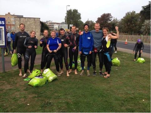 Pre Weymouth swim group photo.