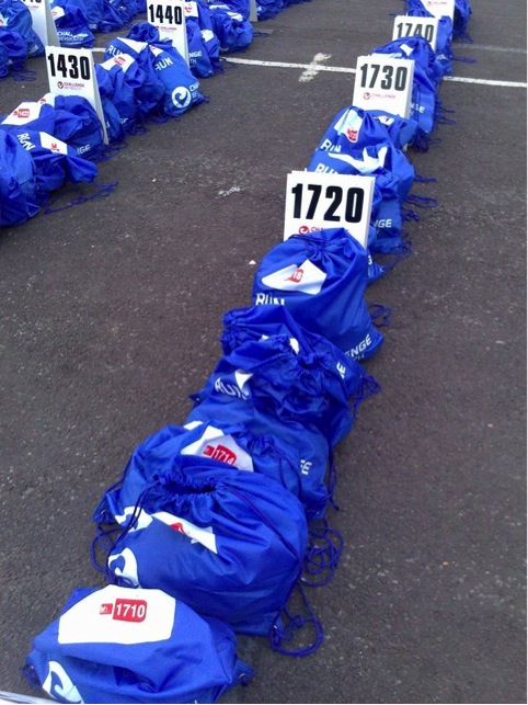 Blue run bags at Challenge Weymouth.