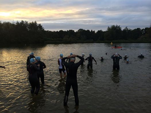 Swimmers entering the water at dusk.