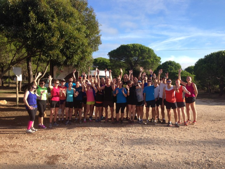 © Embrace Sports, 2014. Woodland trail run group shot with a wave!