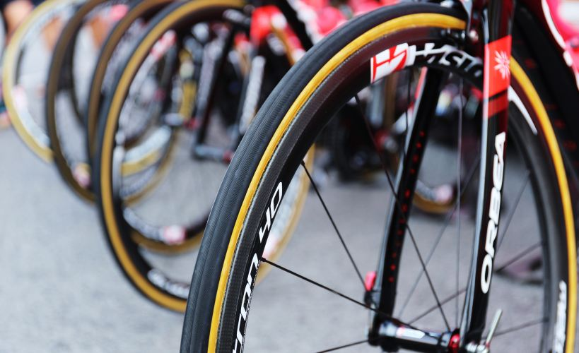 Close up of bike wheels