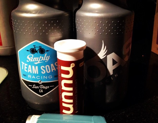 My cycling essentials: nuun, Team SOAS bottles and an inhaler