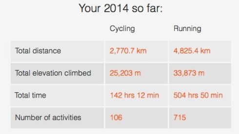 My 2014 according to Strava