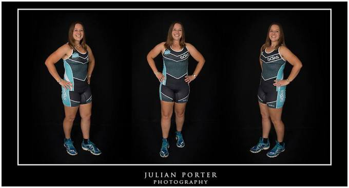 Triptych of Tamsyn in her team Soas tri kit