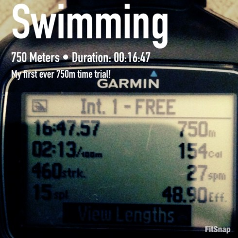 Photo of my Garmin data - 750m time trial