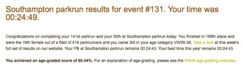 My parkrun result email
