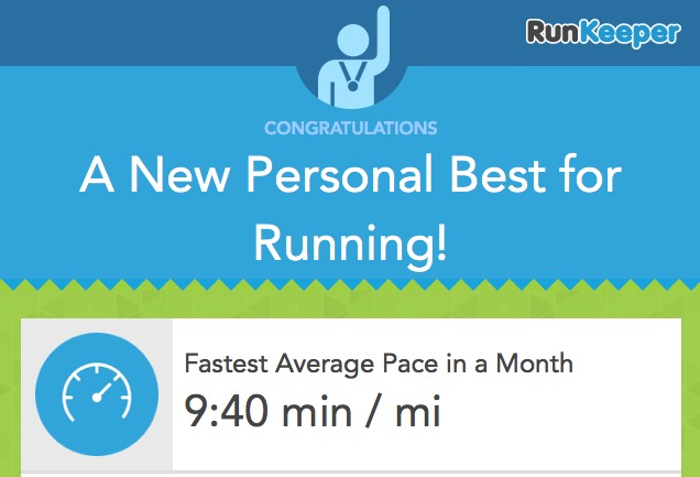 RunKeeper PB for my fastest average pace in a month of 9:40 min/mile in Jan 2014