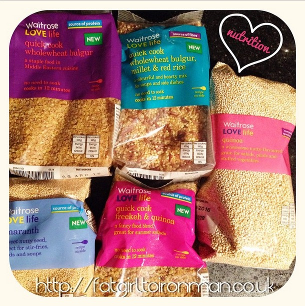 A selection of grains including quinoa and freekeh