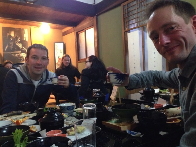 Jez and Stuart enjoying a traditional Japanese feast at the ryokan.