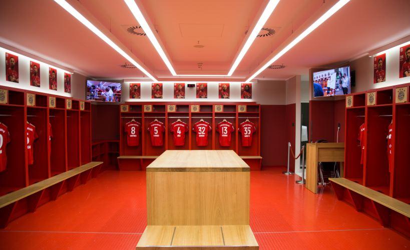 A locker room.