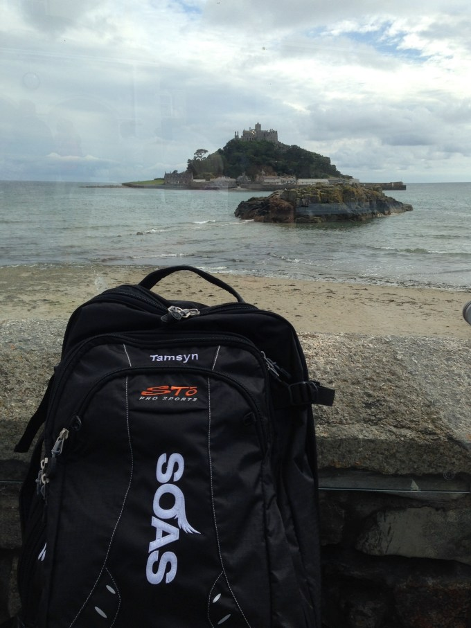 Tamsyn's Soas Sto Pro Sports bag in front of St Michael's Mount.