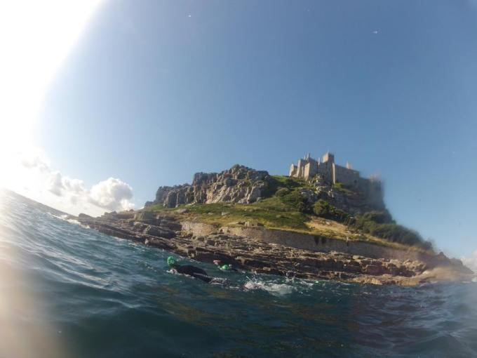 The view from the rear of St Michael's Mount during St. Michael's Mount Swim.