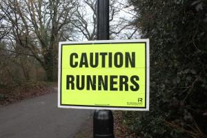 Caution runners sign at Southampton parkrun