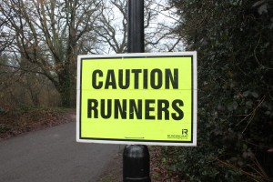 Caution runners sign at Southampton parkrun