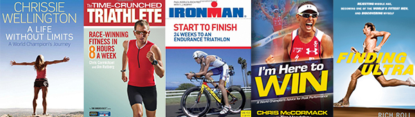 Triathlon books and training guides.