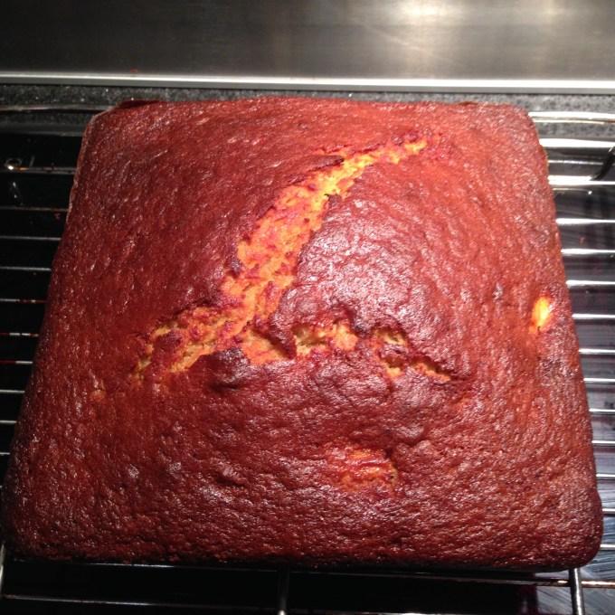 The banana bready cake cooling.